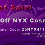 NYX com 25% de desconto!